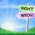 verkeerd · beslissing · teken · richting · veld - stockfoto © krisdog