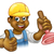 черный · мастер · на · все · руки · Cartoon · строителя - Сток-фото © krisdog
