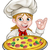 cartoon female woman pizza chef stock photo © krisdog
