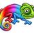 desenho · animado · arco-íris · camaleão · ilustração · mascote · em · pé - foto stock © krisdog