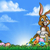 easter bunny and eggs background stock photo © krisdog