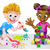 cartoon girl and boy playing with blocks and painting stock photo © krisdog
