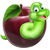 cute · rups · appel · illustratie · gelukkig · groene - stockfoto © krisdog