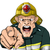 cartoon · brandweerman · boos · man · permanente - stockfoto © krisdog