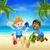 cartoon kids having fun in the sand stock photo © krisdog