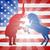 szamár · harcol · elefánt · sziluettek · sziluett · amerikai · zászló - stock fotó © krisdog