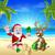 Navidad · playa · tropical · escena · ilustración · verano - foto stock © krisdog
