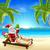 summer christmas santa beach scene stock photo © krisdog