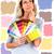 nő · választ · szín · festék · szivárvány · sajtó - stock fotó © kurhan