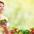 nő · eszik · saláta · érett · mosolygó · nő · gyümölcsök - stock fotó © kurhan