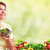 elderly woman eating salad stock photo © kurhan
