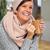 starsza · kobieta · szalik · kubek · kawy · piękna · kobieta · domu · kobieta - zdjęcia stock © kurhan
