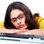 üzletasszony · laptop · számítógép · izolált · fehér · üzlet · nő - stock fotó © Kurhan