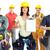 beszállító · nő · csoport · ipari · munkások · izolált - stock fotó © kurhan