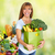 Woman with grocery bag of vegetables. stock photo © Kurhan