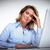 zakenvrouw · hoofdpijn · kantoorwerk · vrouw · kantoor · hand - stockfoto © Kurhan