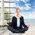 boldog · nő · meditáció · ül · jóga · póz - stock fotó © kurhan
