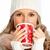 belle · jeune · femme · rouge · café · isolé · blanche - photo stock © kurhan