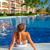 mulher · piscina · férias · caribbean · recorrer · menina - foto stock © Kurhan