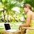 femme · café · jardin · numérique · comprimé · maison - photo stock © kurhan