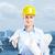 építőmunkás · boldog · nő · portré · fiatal · nő · visel · biztonsági · szemüveg - stock fotó © kurhan