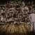 empresário · olhando · parede · abstrato · papel · projeto - foto stock © kurhan