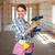 perforación · casa · nina · trabajo - foto stock © kurhan