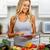 jonge · vrouw · tablet · keuken · jonge · mooi · meisje · koken - stockfoto © Kurhan