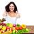 mulher · jovem · polegar · cozinha · legumes · comida - foto stock © kurhan