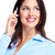 happy business woman with cell phone stock photo © kurhan