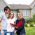 real estate agent woman with clients near new house stock photo © kurhan
