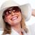 старший · женщину · Солнцезащитные · очки · позируют · задний · двор - Сток-фото © kurhan