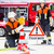 female fire fighters setting up attention sign stock photo © kzenon