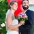 noiva · casamento · ler · hélio · balões · céu - foto stock © kzenon