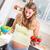 kobieta · w · ciąży · jedzenie · sałatka · owocowa · domu · ciąży · bed - zdjęcia stock © kzenon