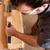 homme · marteau · ciseler · bois · construction · travaux - photo stock © kzenon