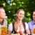 two happy couple sitting in beer garden stock photo © kzenon