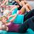 группа · улыбаясь · женщины · сидеть · спортзал · фитнес - Сток-фото © kzenon