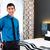 homem · quarto · de · hotel · empresário · negócio · trabalhar - foto stock © kzenon
