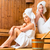 girlfriends in wellness spa enjoying sauna infusion stock photo © kzenon