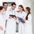 takım · doktorlar · ayakta · hastane · koridor · laboratuvar - stok fotoğraf © kzenon