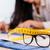 detail of pattern tape rule and glasses in fashion studio stock photo © kzenon