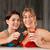 two female friends drinking tea in swimming pool stock photo © kzenon