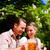feliz · Pareja · sesión · cerveza · jardín · disfrutar - foto stock © Kzenon