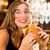meisje · fastfood · restaurant · portret · positief · mooie - stockfoto © kzenon