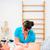 terhes · nő · fizioterápia · kanapé · nő · nők · fitnessz - stock fotó © kzenon