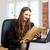 mulher · escrita · escritório · em · casa · casa · caneta · janela - foto stock © kzenon