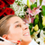 bela · mulher · vermelho · flores · vermelhas · rosas · estúdio - foto stock © kzenon