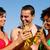group of friends drinking beer in swimwear stock photo © kzenon