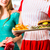 ludzi · amerykański · diner · restauracji · kelnerka · znajomych - zdjęcia stock © kzenon
